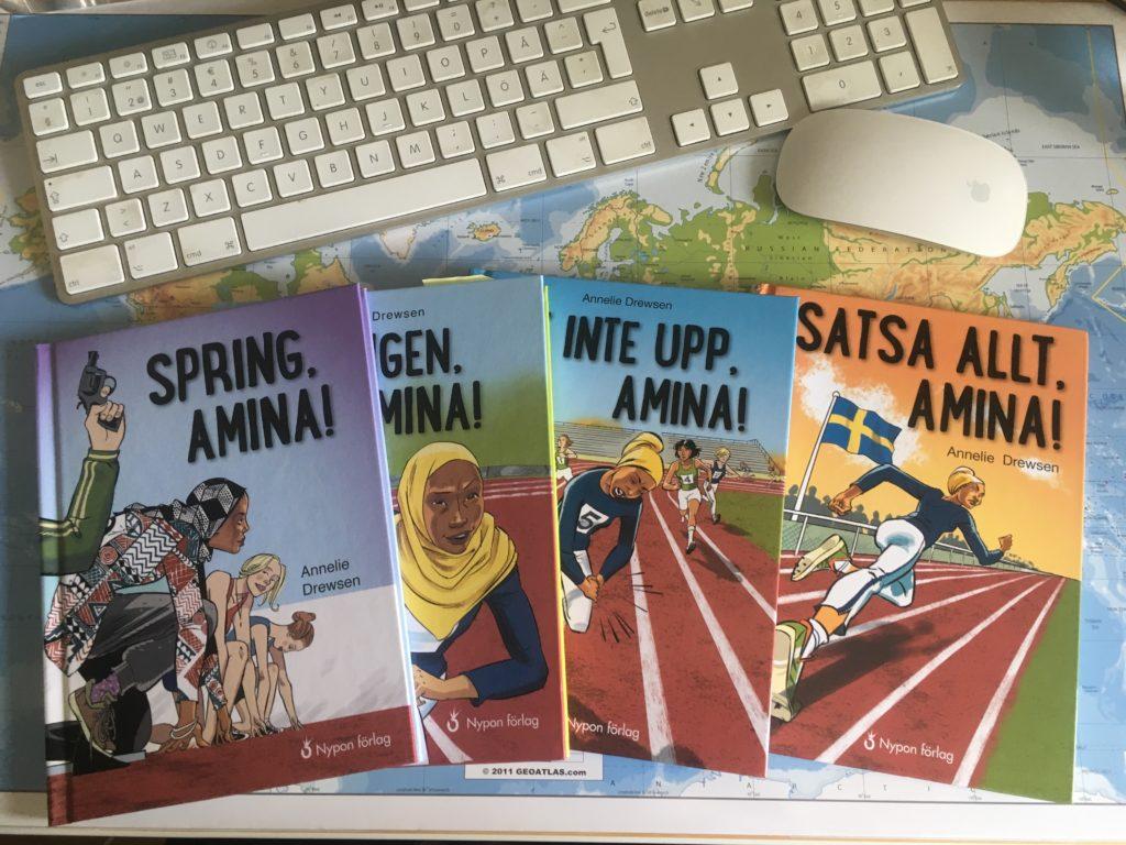 Bild av böckerna i Amina-serien